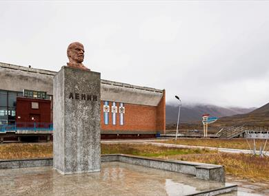 The statue of Lenin in the centre of Pyramiden
