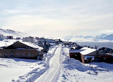 Barentsburg in the wintertime