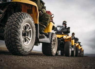 Tour group with ATVs